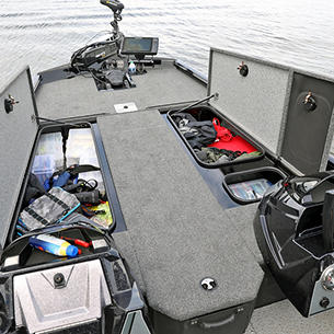 Renegade Bow Deck Storage Compartments Open