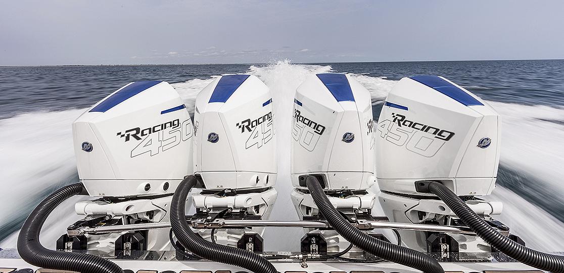 Four Mercury 450r Motors Boat