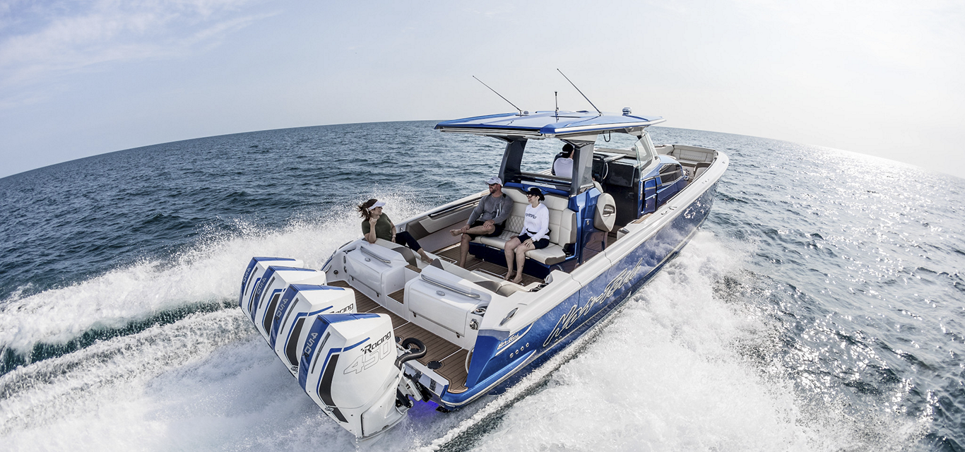 People boating Mercury 450