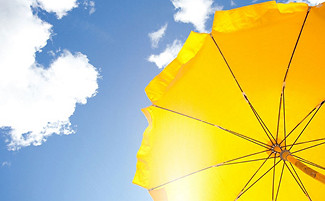 umbrella with sky in the background