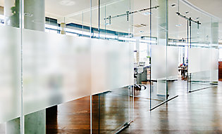 Decorative film adds subtle privacy to offices