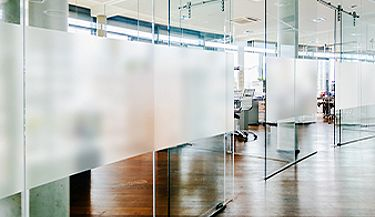 Decorative film adds subtle privacy to office environment