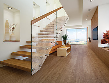 Decorative film adds depth and texture to home stairway