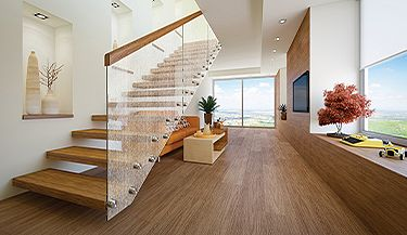 Decorative film adds subtle effect to glass stairs in home