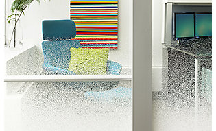 Gradient film adds textured privacy to office