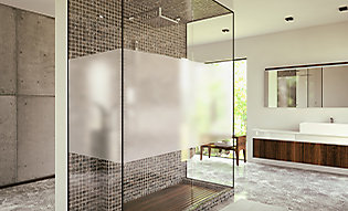 Matte frost film used to obscure shower glass