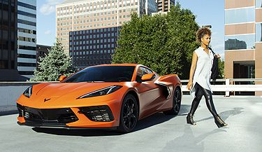 Metalized window tint on orange Corvette