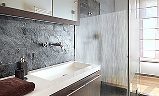 Nature inspired window film adds privacy to bathroom