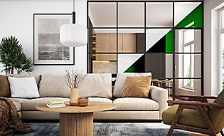 Specialty decorative window film creates texture in living room