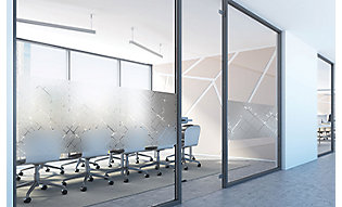 Textile inspired window film adds privacy to conference room