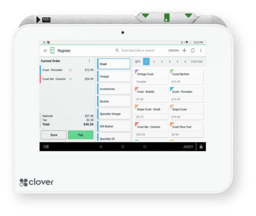 Clover Online Ordering interface