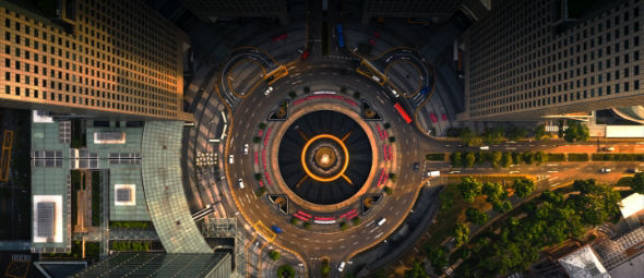 downward view of city roundabout
