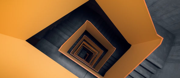 downward view of staircase
