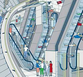 Illustration of people on escalators