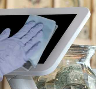 Wiping POS system touchscreen