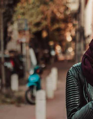 woman walking and texting