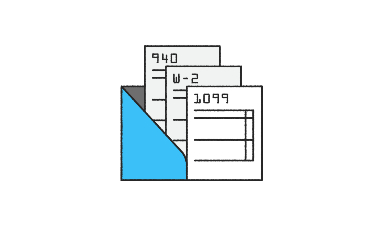 Illustration of a blue folder with three documents