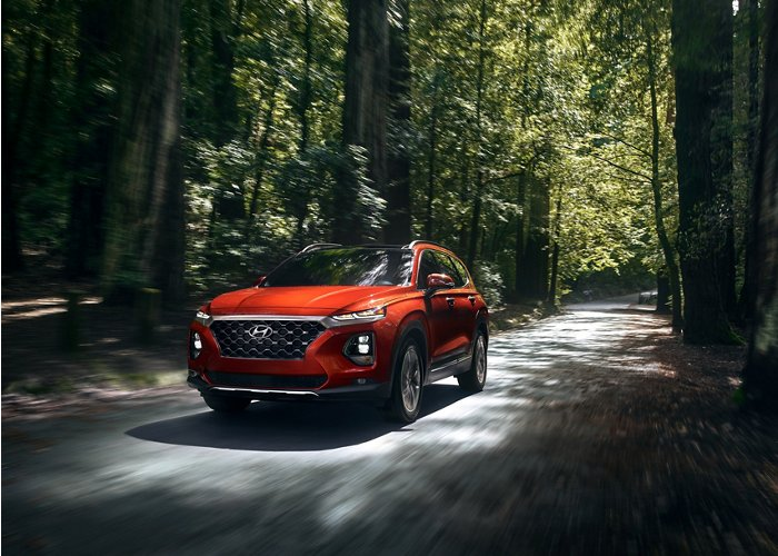 2020 hyundai santa fe driving through forest