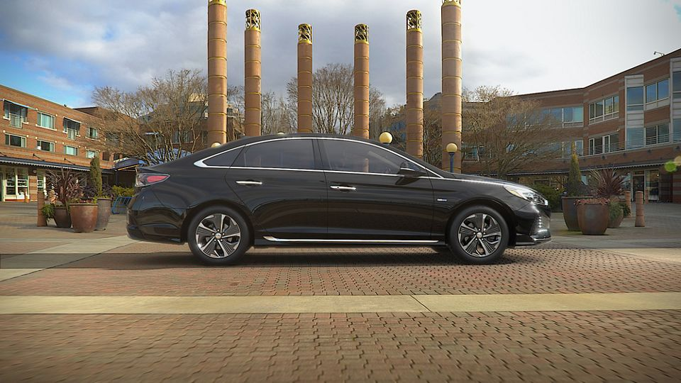 360 Exterior Image of the 2019 SONATA Hybrid in Nocturne Black