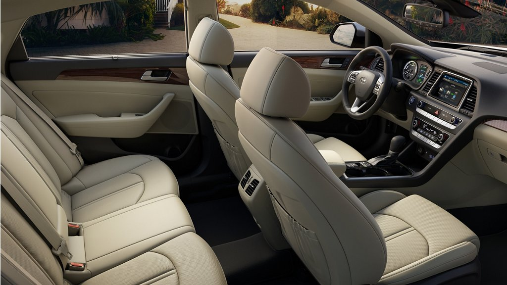2019 Hyundai Sonata Hybrid beige leather interior