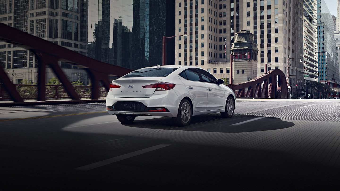 2020 elantra white rear view