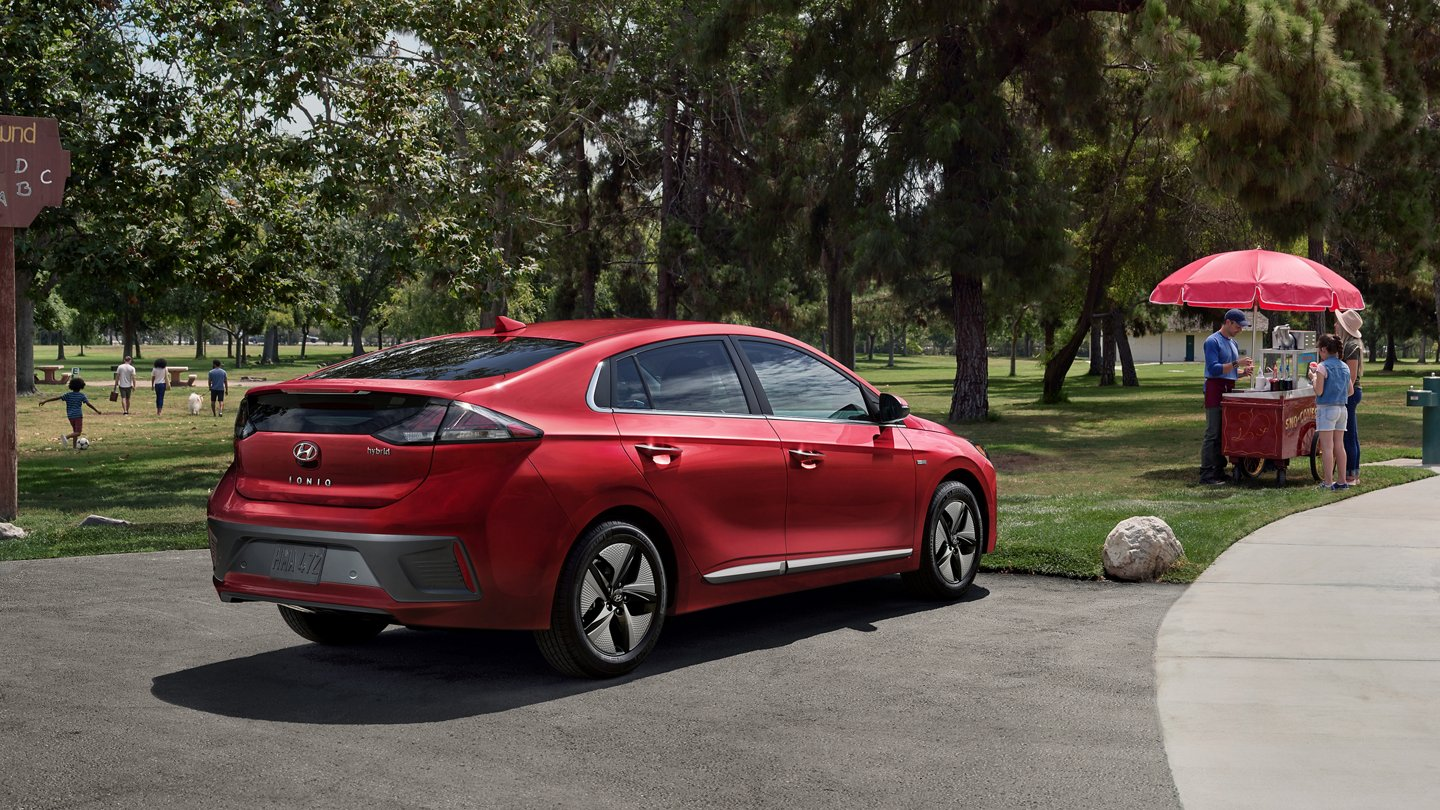 2020 Ioniq Hybrid in Scarlet Red Pearl at park