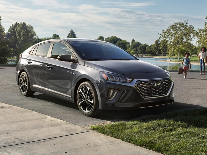 2020 Hyundai Ioniq Plug In Hybrid in Summit Gray parked at house