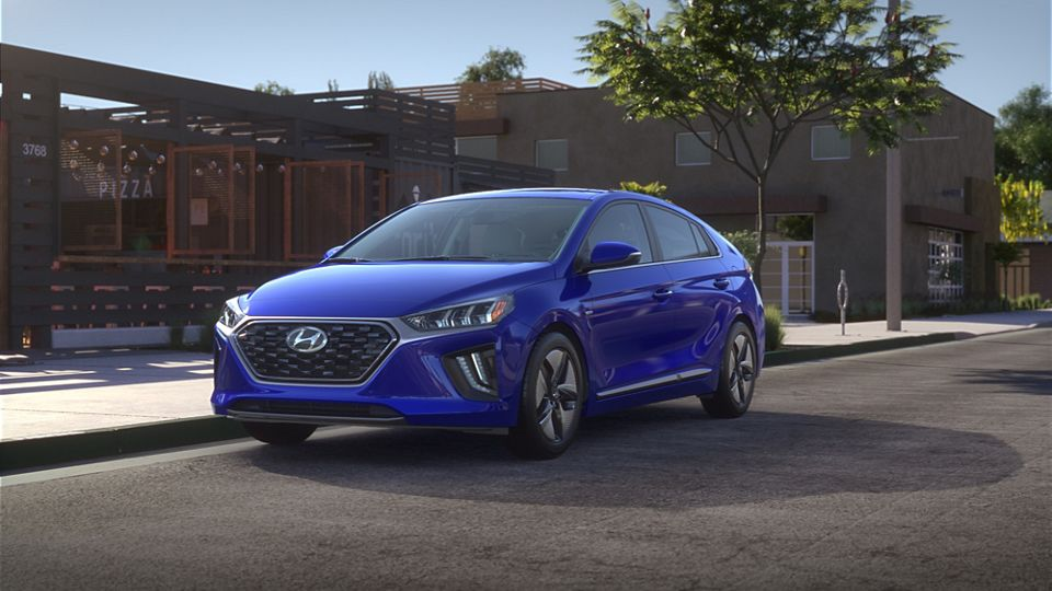 360 Exterior Image of the 2020 IONIQ Hybrid in Intense Blue