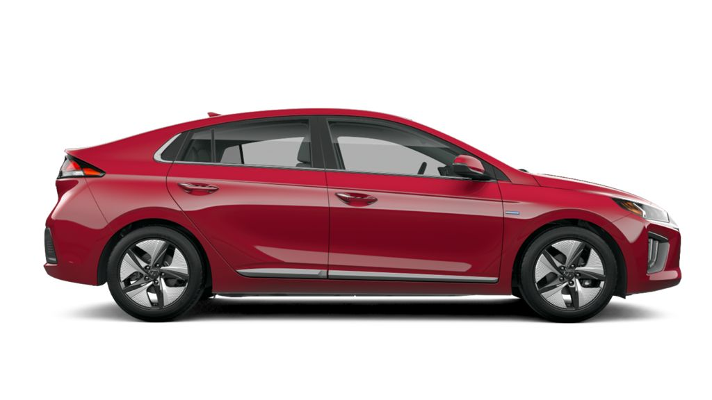 2020 ioniq hybrid in pomegranate red wheels profile view