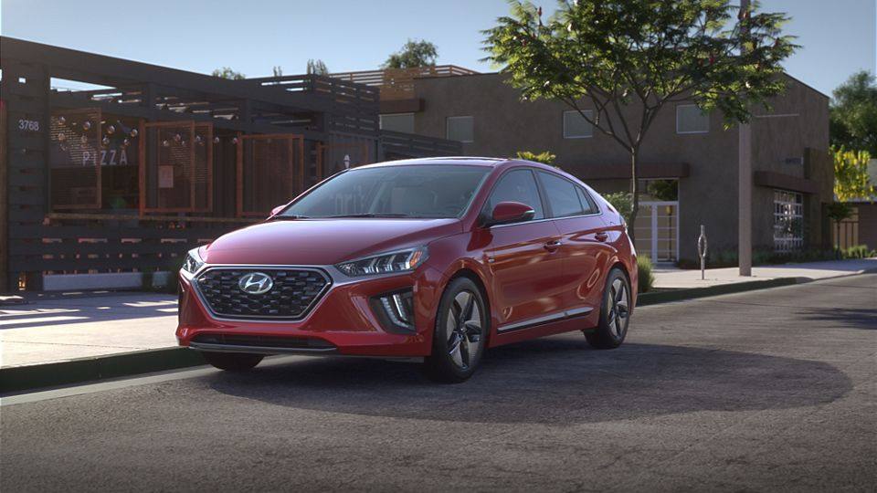360 Exterior Image of the 2020 IONIQ Hybrid in Scarlet Red Pearl