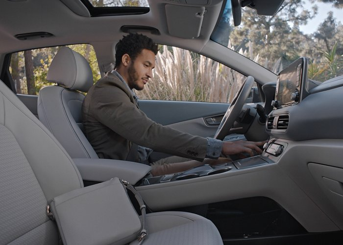 Pebble Blue leather interior available on 2020 Kona Electric