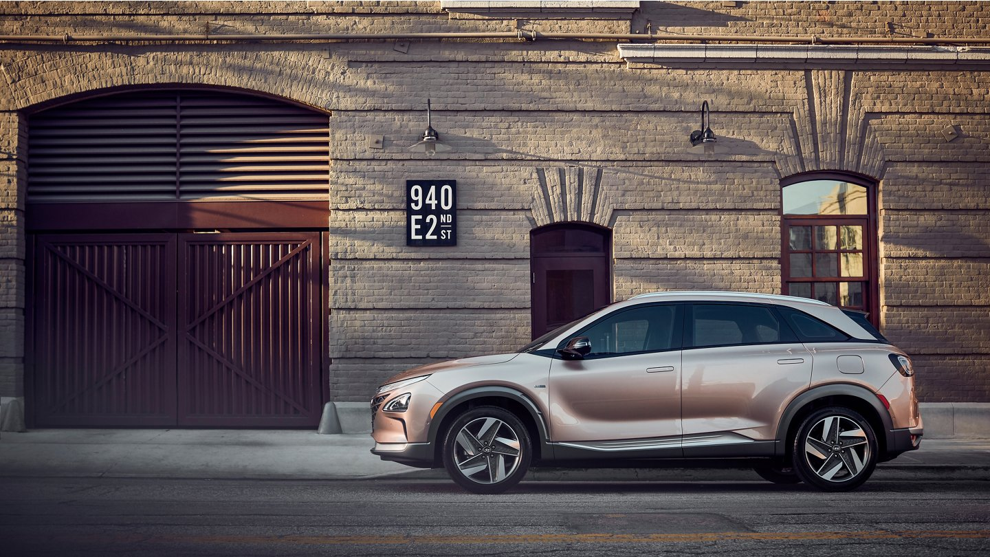 2020 Hyundai Nexo Fuel Cell parked in front of building