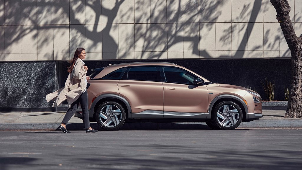 2020 Nexo Fuel Cell in Copper Metallic in front of building