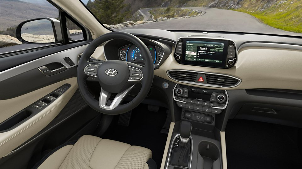 360 Interior Image of the 2020 SANTA FE in Black with Beige