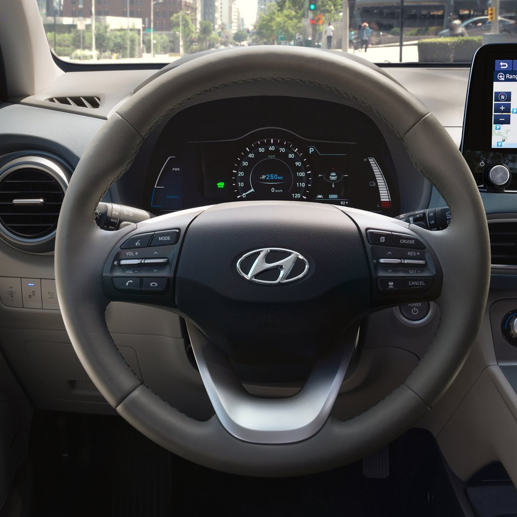 2021 Hyundai Kona Electric Limited Leather wrapped steering wheel