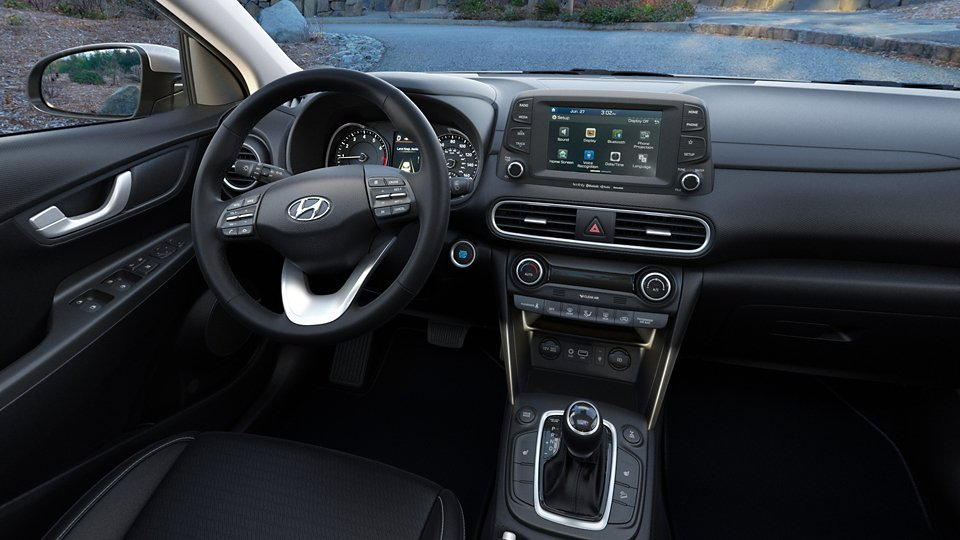 360 Interior Image of the 2021 KONA Limited in Black