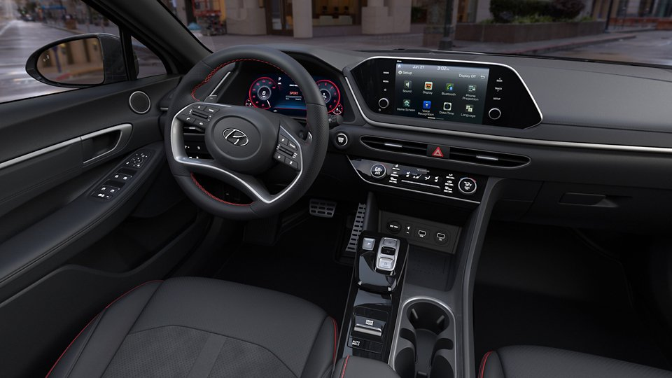 360 Interior Image of the 2021 SONATA SEL Plus in Black Leatherette with Suede Combination