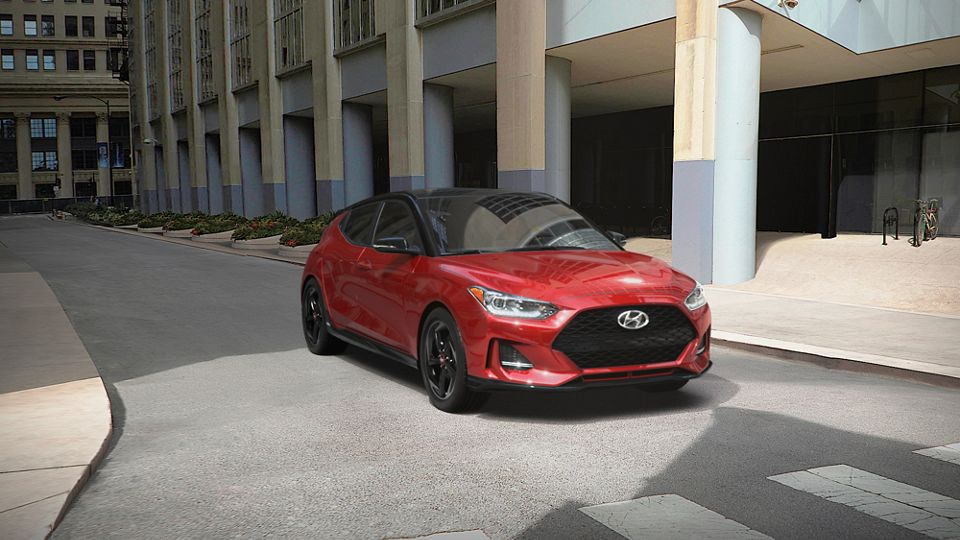 360 Exterior Image of the 2021 VELOSTER in Racing Red