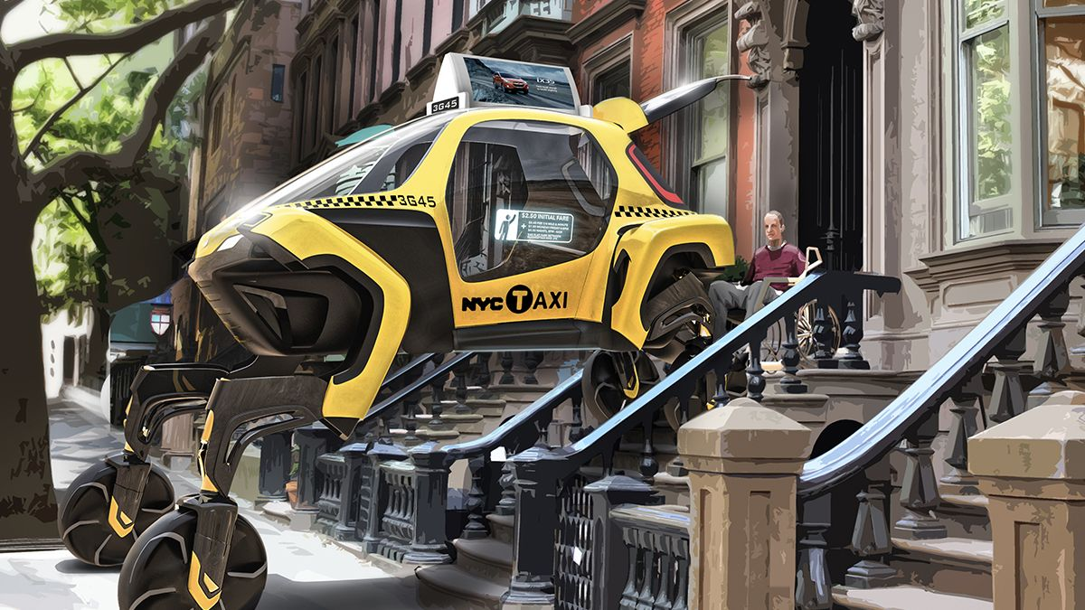 Hyundai Elevate concept car as a taxi picking up a passenger on a wheelchair waiting on top of the stairs in a brownstone