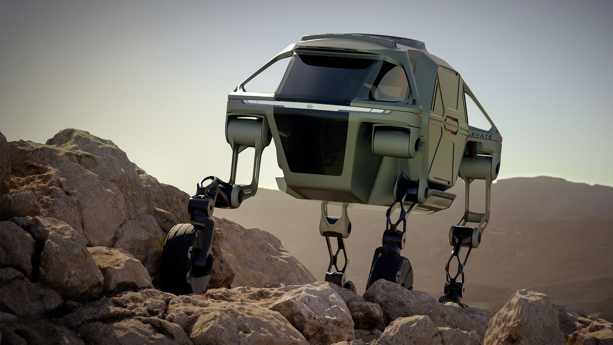Animation of Hyundai Elevate concept car drives and walks over rocky terrain and is used for rescue missions