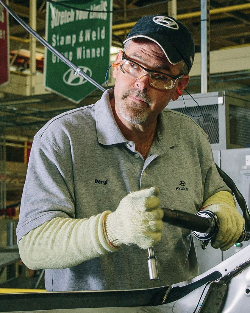Hyundai employee Daryl works on building a car in Hyundai's manufacturing plant in Montgomery Alabama
