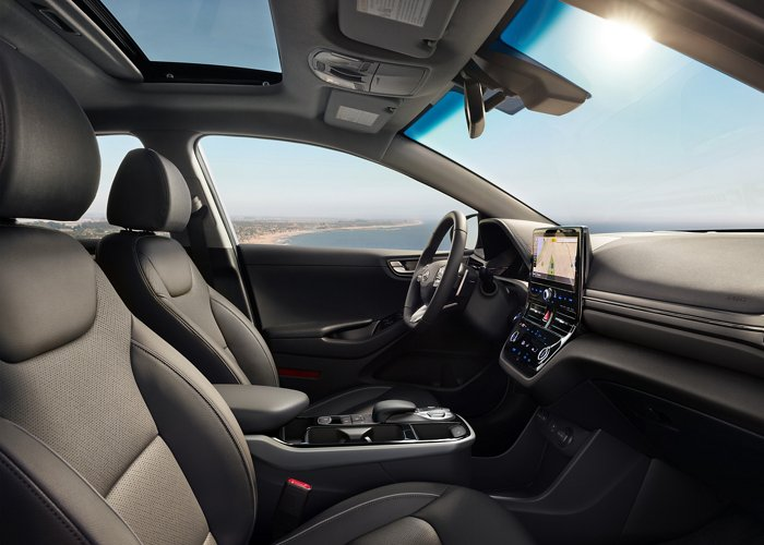 2020 Hyundai Ioniq black leather interior