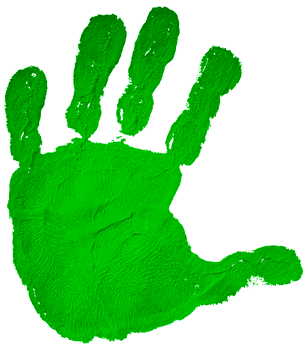 Green children's handprint as if stamped on the screen