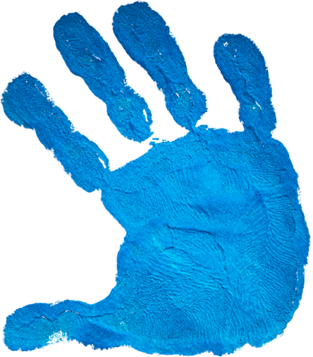 Blue children's handprint as if stamped on the screen