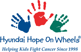 Hyundai Hope on Wheels logo shows three handprints in blue red and green