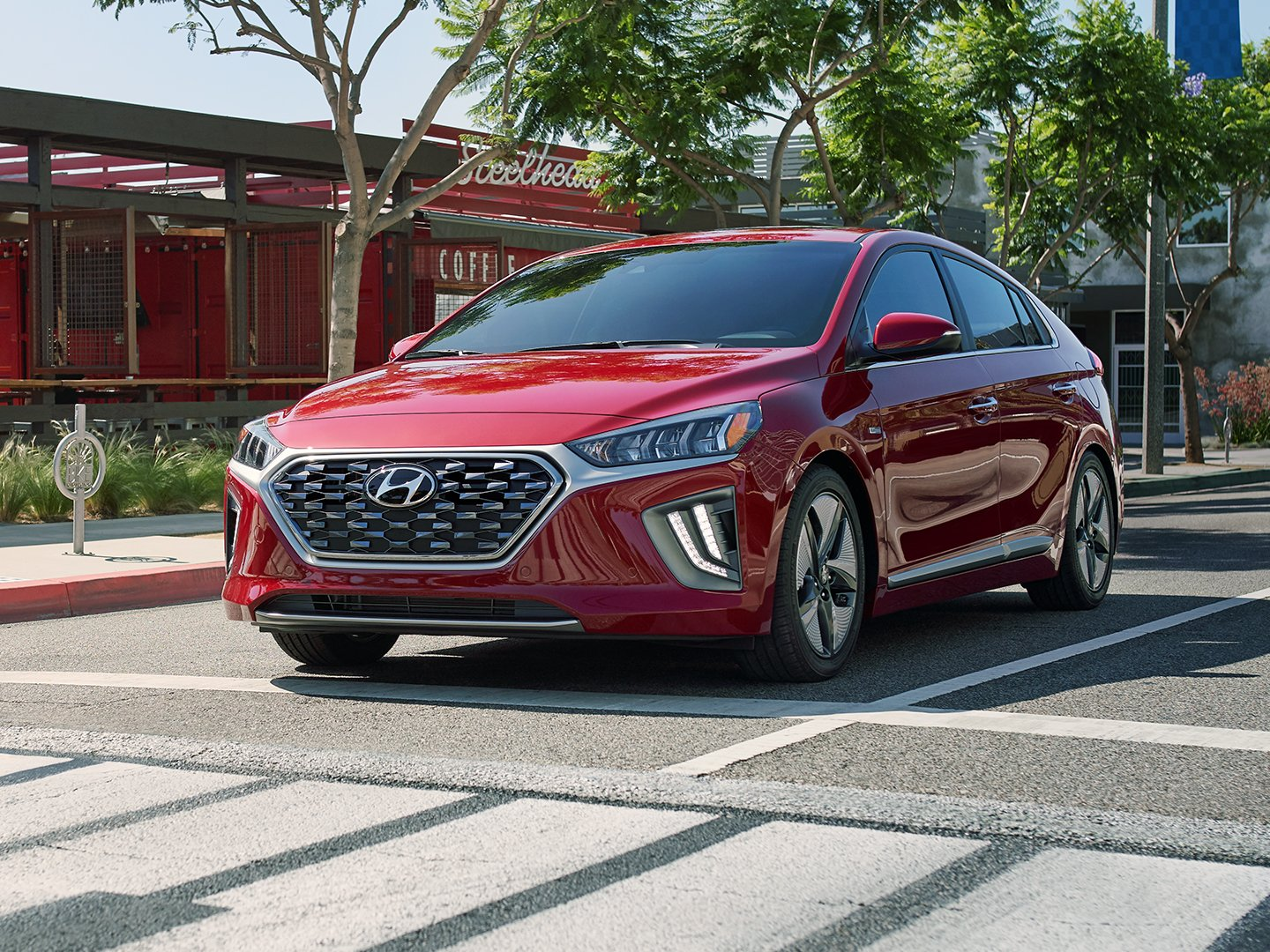 2020 Ioniq Hybrid in Scarlet Red at stop sign