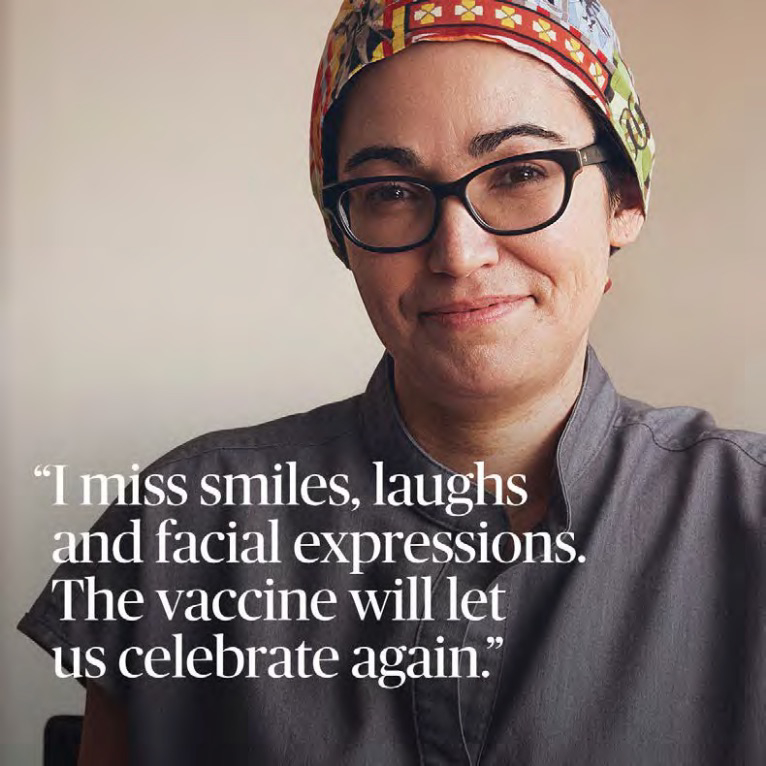 """Dr. Marina Del Rios """"I miss smiles, laughs and facial expressions. The vaccine will let us celebrate again."""""""