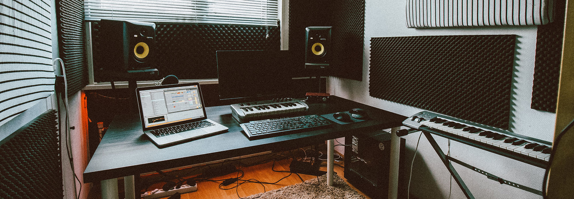 A typical home studio setup for music production
