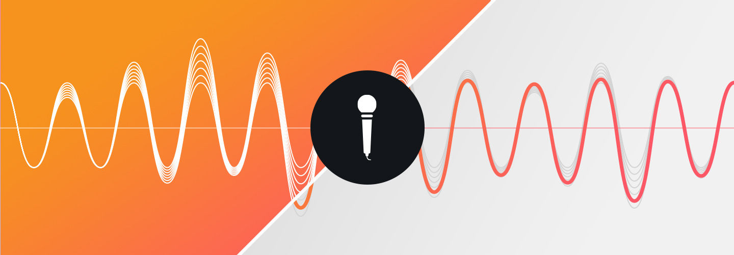 Graphic of a waveform and a microphone
