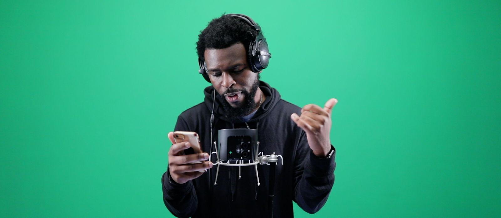 Latrell James recording with Spire Studio
